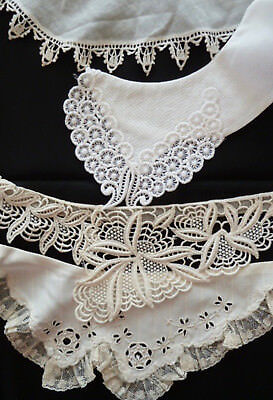 Vintage Ladies Collars Lot 4 Lace Embroidered -Net Cotton-Nylon-Ecru-White-Dress