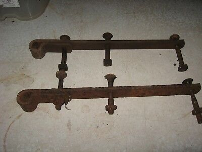 Lot #3409 2 Antique Barn Door Strap Hinges from Gettysburg, PA - LOT OF 11 Antique Primitive Rusty Iron Rusted Farmhouse Barn Door
