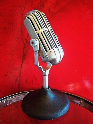 Vintage RARE 1940's American D9T dynamic microphone old antique w Atlas stand