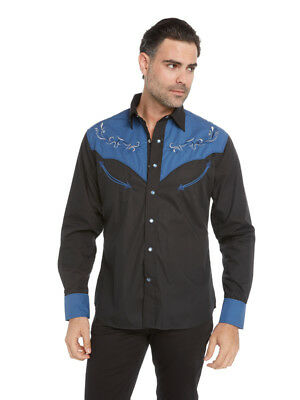 d3f44662 Western Fashion Dress Shirt for Men Black and Blue Embroidered Snap button