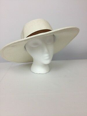 1c31eb42784 Nine West Womens Canvas and Straw Floppy Hat Pool Beach Spring White ONE  SIZE