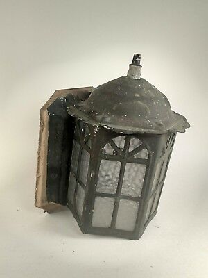 Antique Cast Iron Gothic Glass Wall Sconce Porch Light Lamp Fixture Rustic VTG