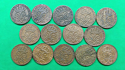 Lot of 14 Different Old Sweden 1 Ore Coins 1921-1950 !!