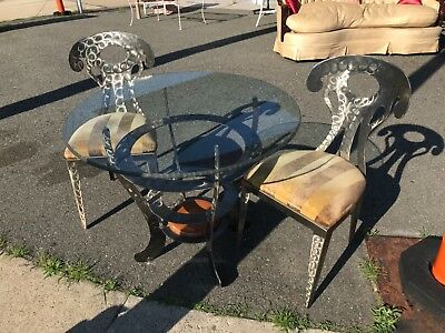 vintage iron and glass kitchen set table two chairs chrome look iron brushed?