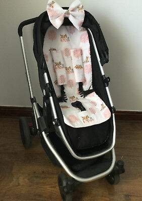 Bambi Print Pram Liner Padded Hood  Bow Harness Covers Buggy Pink Pushchair