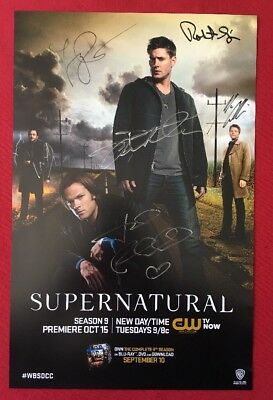 SUPERNATURAL CAST SIGNED BY 6 SDCC POSTER COMIC CON 2013 Padalecki Ackles
