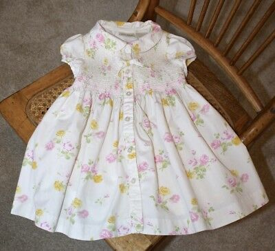 4aebb9b57d1 Laura Ashley Baby Girl Dress Smocked 12 Months With Diaper Cover Floral  Flowers