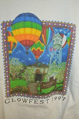 Mens GRUENE vintage Gristmill Hot Air Balloon Collared T-Shirt Mens XL texas tx