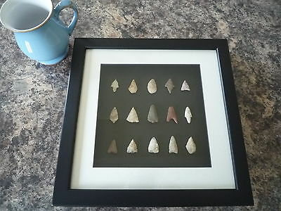Neolithic Arrowheads in 3D Picture Frame, Authentic Artifacts 4000BC (O015)