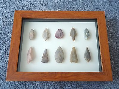 Neolithic Arrowheads in 3D Picture Frame, Authentic Artifacts 4000BC (0446)