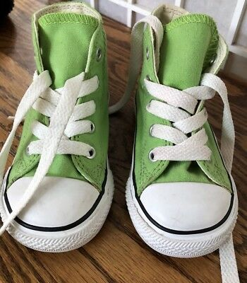 7fb37499239b71 Converse All Star High Tops Lime Green Canvas Sneakers Toddler size 6