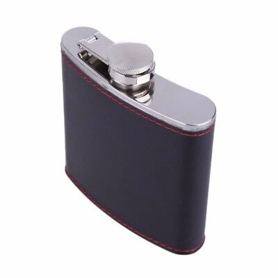 Portable Stainless Steel Whiske 6oz Wrapped PU Leather Hip Flask Black 1pcs