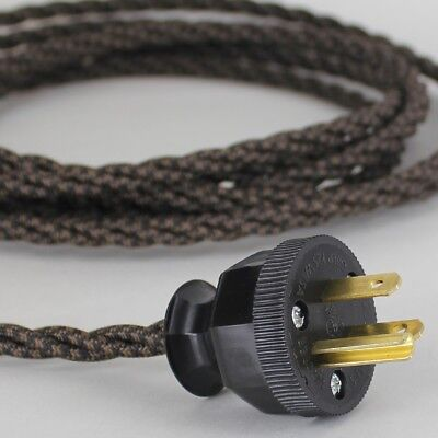 BLACK & BROWN ~ Lamp Cord ~ Twisted Cloth Covered Wire w/ 3 Prong Grounded Plug