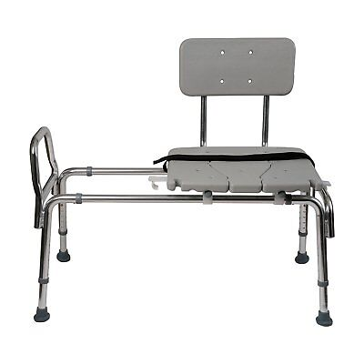 Duro-Med Heavy-Duty Sliding Transfer Bench Shower Chair with Cut-out Seat and...