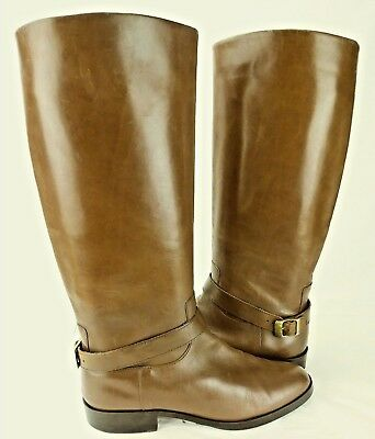 d1da4ce789 Etienne Aigner Wos Boots JORDAN US 8 M Brown Leather Pull on Buckle Riding  6249