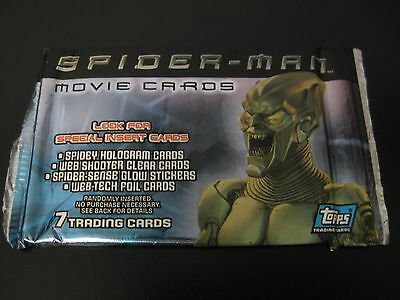 NEW SEALED Topps TCG 2002 Spider-Man Movie Cards Booster Pack - 7 Cards