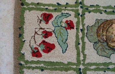 Vintage Hand Hooked Wool Scatter Area Rug Fruits Grapes Cherry Berry 2x4