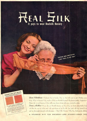 1940 vintage Hosiery AD REAL SILK Hosiery MIlls , Gift for Mother's day 060218