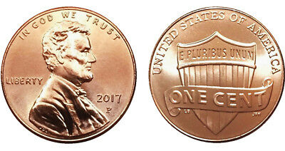 2017-P Lincoln 1 cent, nice uncirculated, brilliant luster.