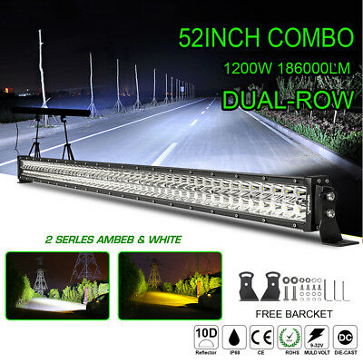52inch 1200W Led Light Bar Spot Flood Combo Work Driving Offroad SUV Truck 50 US