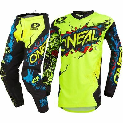 NEW Oneal 2019 Youth MX Element Villain FLO Neon Yellow Kids Motocross Gear Set