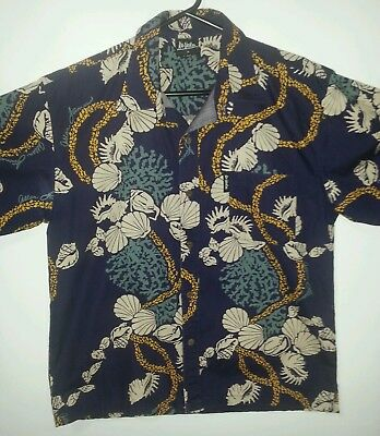 Kai-Veikau Hawaiian Shirt Size M Coral Shell Allen James Vintage Purple