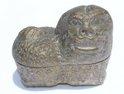 Circa 1900 Antique Chinese Silver plated Brass Trinket Box FOO DOG