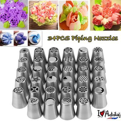34Pcs/Set Russian Flower Piping Tips Cake Decorating Pastry DIY Icing Nozzles AU