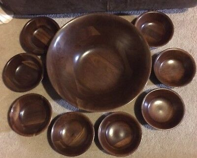 "Vintage Vermillion Real Walnut Wooden 14"" Bowl & 6"" Salad Bowls SET OF 9"