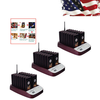 Restaurant Wireless Paging Queuing System 999CH&48*Call Coaster Pager 600g US!!!