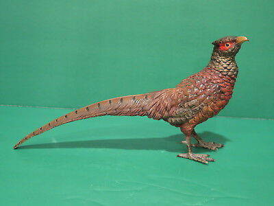 Vintage (Antique ??) Large Austrian Vienna Cold Painted Bird Pheasant