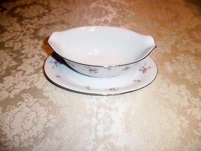 Vintage LORRAINE by Harmony House Fine China w/ Pink Roses Gravy Boat w/ Liner