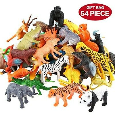 XHCOMPANY Animals Figure,54 Piece Mini Jungle Animals Toys Set,Realistic Wild A+