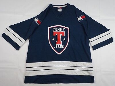rare vintage tommy jeans shield spell out patch jersey t shirt 90s