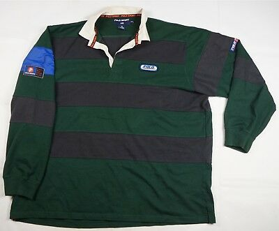 9cc68bbe2dc Rare Vintage POLO SPORT Ralph Lauren Spell Out P Patch Rugby Shirt 90s Retro  2XL