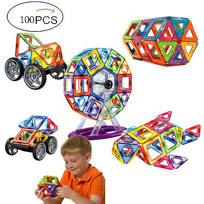 100 Pcs Magnetic Toy Building Blocks Shapes Set 3D Large Tiles Great Gift Kids
