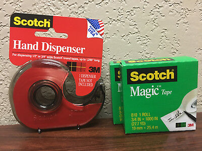 Scotch H127 Hand Tape Dispenser With 2 Rolls Scotch Magic Tape 3/4 x 1000""