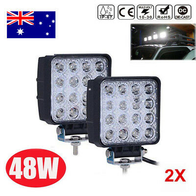 2x Square 48W LED Work Light Spot Lamp Offroad Tractor Truck 4WD SUV UTE 12V 24V