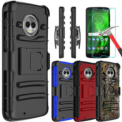 For Motorola Moto G6 Armor Case Cover With Kickstand Belt Clip+Screen Protector