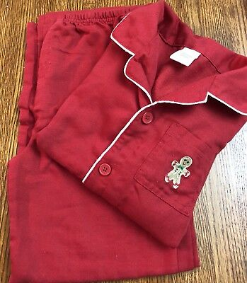 Gymboree Gingerbread Red Button Front Top Pants Gymmie Pajama Set 7-8