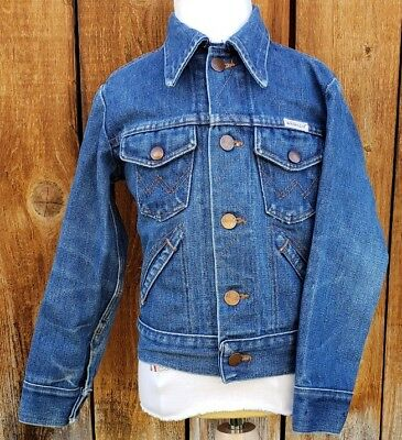 Vintage Wrangler Kids Size 7/8 Denim Trucker Jacket No Fault 70's USA Blue Jean