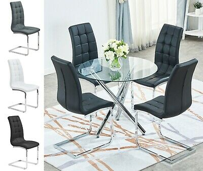 Clear Glass Round Dining Table and 4 Grey Chairs Set Leather Chrome Cross Legs