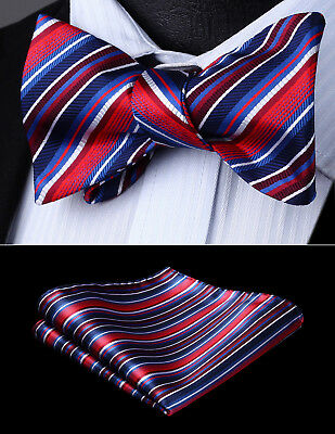 Mens Party Wedding Red Blue White Striped Self Bow Tie Pocket Square Set#BS610RS