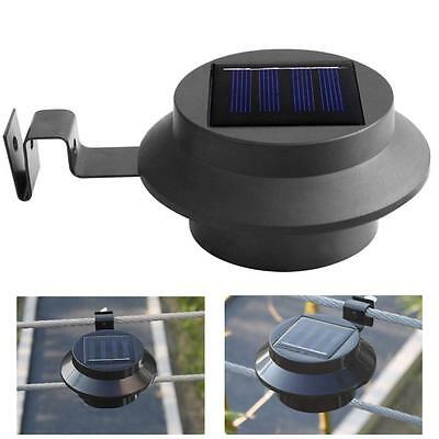 Solar Powered Outdoor Garden Light Gutter Fence 3 LED Yard Wall Lamp Black UPDY