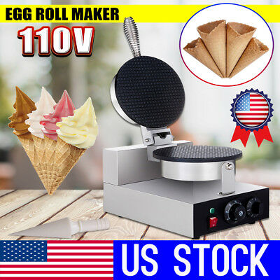 USA 110V Commercial Electric Ice Cream Cone Egg Roll Maker Waffle Machine
