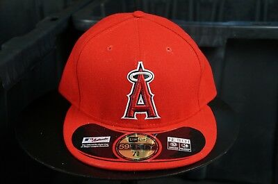 9024591c Rare NEW ERA Anaheim Angels MLB 59Fifty Fitted Hat Cap Trout NWT Red Size 7  5