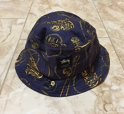 2595b882256f1 STUSSY BUCKET HAT Capz Disc Music Horns Saxophone Trumpet Navy Blue -   21.00