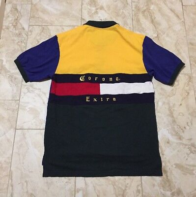 Vintage Corona Extra Beer Multi-Color Polo Shirt Size Men's Large
