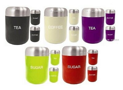 Stainless Steel Tea Coffee Sugar Canister Set of 3 Cream Black & Red Storage Jar