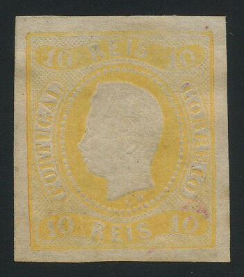 Portugal 1866 10r yellow MNG (*), perfect condition, very fresh and scarce